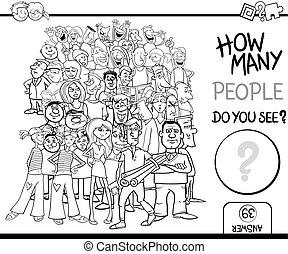ゲーム, 着色, 数える, ページ, 人々