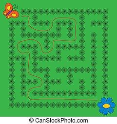 ゲーム, 蝶, 子供, 教育, 迷路, 花