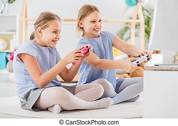 ゲーム, 遊び, ビデオ, 2人の少女たち