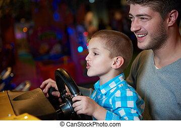 ゲーム, 遊び, 父, 運動場, 息子