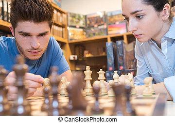 ゲーム, chesse, 遊び, 若い 大人