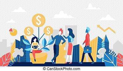コイン, ビジネス, お金, 漫画, 木, 人々, 金, 概念
