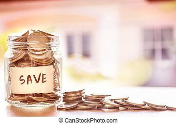 コイン, 中に, ガラスジャー, ∥で∥, 家, 焦点がぼけている, 背景, お金, セービング, ∥ために∥, 家, ∥あるいは∥, 不動産, ローン, 概念