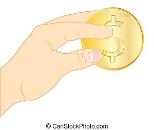 コイン, 中に, 手