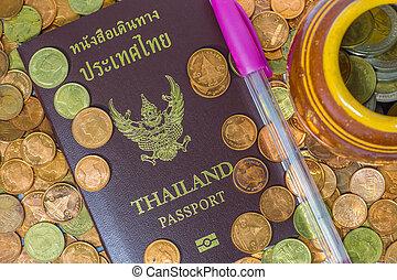 コイン。, 山, タイ人, パスポート