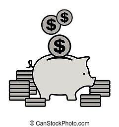 コイン, 灰色, 銀行, 小豚