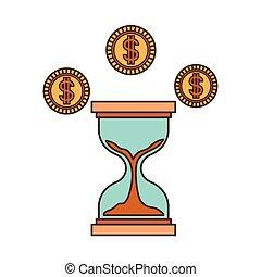 コイン, 砂時計, 隔離された, アイコン