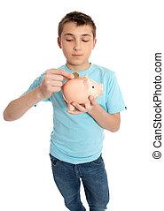 コイン, 置くこと, 貯金箱, 子供