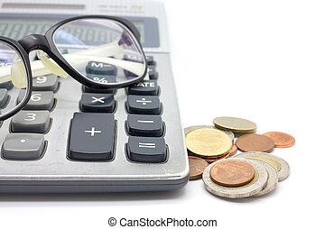 コイン, 背景, 白, 計算機