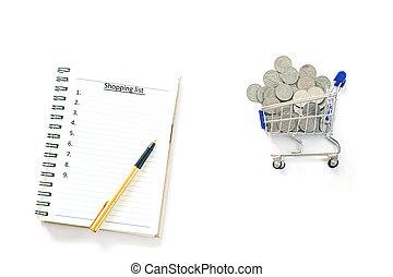 コイン, 背景, 買い物, 白, 隔離しなさい, リスト, 概念