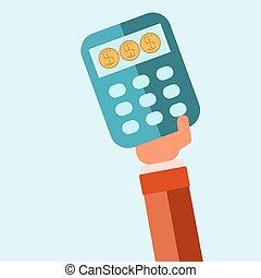 コイン, 財政, ビジネス, 計算機, 和解, 手, シンボル