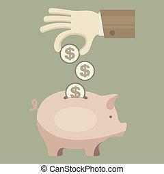 コイン, 貯金箱, 手