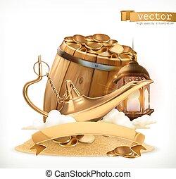 コイン。, 金, 木製である, treasure., ランプ, ベクトル, 魔神, 樽, 3d, アイコン