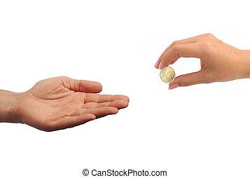 コイン, 隔離された, 女性手