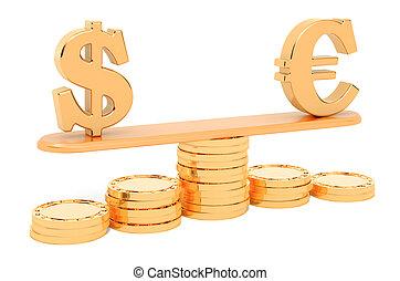 コイン。, 3d, balance., ∥あるいは∥, ドル, 変動, ユーロ, レンダリング