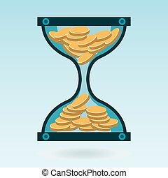 コイン。, bank., 金, お金, お金。, 堆積, 時間, 砂時計, working.