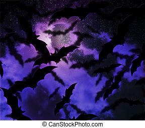 コウモリ, ハロウィーン, 背景, 夜