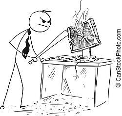 コウモリ, 破壊, 怒る, 破壊的である, コンピュータ, 野球, ビジネスマン