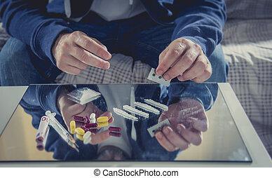 コカイン, 若者, 薬, 鏡, 中毒者, フード, 鼻で吸う