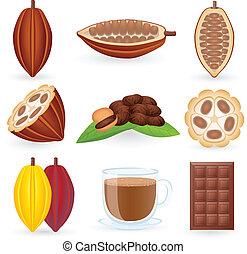 ココア, セット, 豆, アイコン