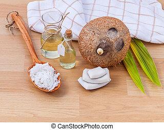 ココナッツ, オイル, 自然, 原料, -, エステ, 選択肢, 必要, therapy.