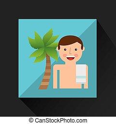 ココナッツ, タオル, ショートパンツ, 木, 休暇, 浜, 人