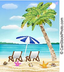 ココナッツ, リラックスしなさい, 木, 砂の 海, 椅子, 浜