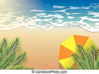 ココナッツ, 傘, 上, 木, 海, 下に, オレンジ, 浜, 夏, 光景