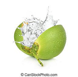 ココナッツ, 隔離された, 水, バックグラウンド。, はね返し, 緑の白
