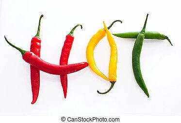 コショウ, 作られた, 単語, 黄色, 暑い, 緑の背景, チリ, 白い赤