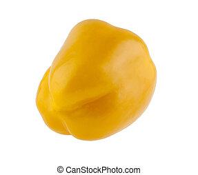 コショウ, 白い背景, 隔離された, 黄色
