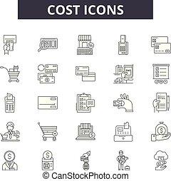 コスト, ビジネス, illustration:, お金, ドル, 2, セット, アウトライン, 概念, コスト, vector., 価格, 線, 金融, サイン, アイコン
