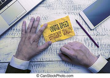 コスト, 意味, スピード, inputs, quality., テキスト, 効率的である, オペレーション, balance., 執筆, 概念, 手書き, 効率, outputs