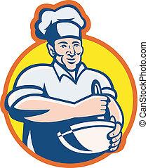コック, シェフ, パン屋, ∥で∥, 混ぜ鉢, レトロ