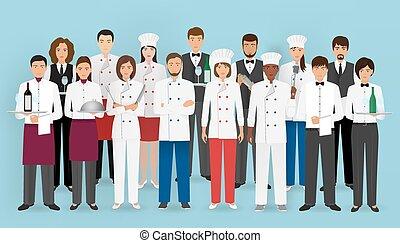 コック, characters:, レストラン, barman., uniform., ウエーター, サービス, ケータリング, グループ, シェフ, 概念, チーム