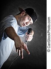 コツコツという音, 歌手, 人, ∥で∥, マイクロフォン, 涼しい, 手ジェスチャー