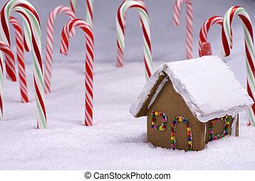 コテッジ, キャンデー, クリスマス, bread, 森林, 杖, ショウガ