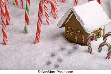 コテッジ, 先導, 足跡, クリスマス, gingerbread