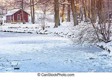 コテッジ, 凍結する池