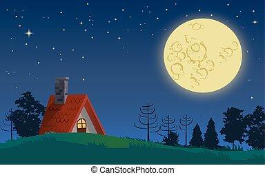 コテッジ, 国, フルである, 夜, 月