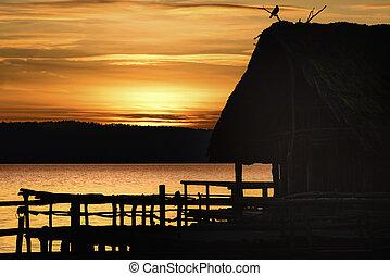 コテッジ, 鳥, 日没, シルエット