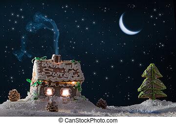 コテッジ, gingerbread, 湖, 星, 雪が多い