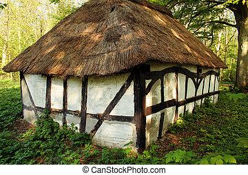 コテッジ, thatched, 小屋
