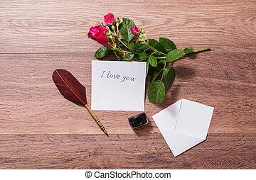 コピースペース, バレンタイン, インク, photography., card., 位置, day., バックグラウンド。, ペン, 噴水, 概念, roses., 白, mock, 挨拶, 平ら, 封筒, 結婚式, 先端, 木製である, の上, 赤, 招待, pen.