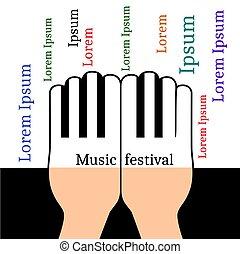 コピースペース, 形態, キー, テキスト, 手, ピアノ