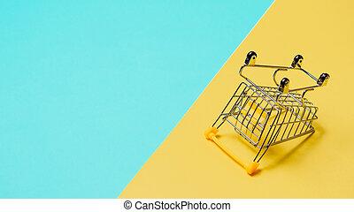 コピースペース, 裏返された, 空, カート, 買い物