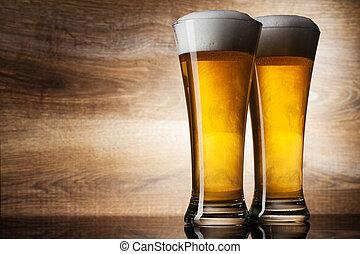 コピースペース, 2, ガラス, ビール, 木, 背景