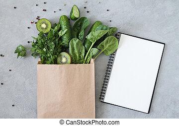 コピー用紙, スペース, 緑のトップ, ブランク, 光景, 健康, 食料雑貨, 買い物, ノート, 袋, 食物