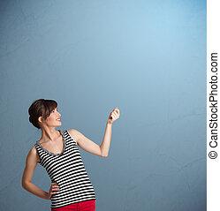 コピー, 女性, ジェスチャーで表現する, かなり, スペース