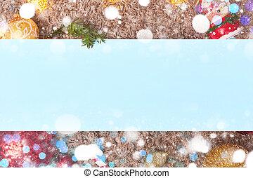 コピー, 葉, 青, スペース, クリスマス, bokeh, flatley, フレーム, おもちゃ